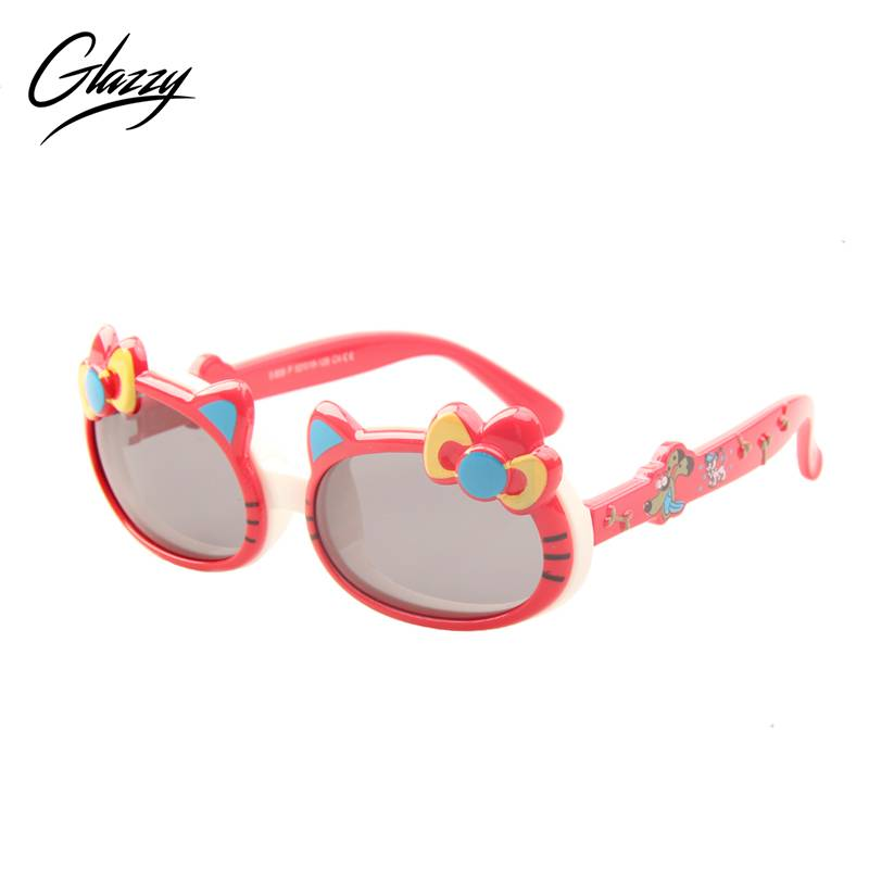 High quality lovely cat style frame rubber cute kids sun glasses polarized custom party sunglasses
