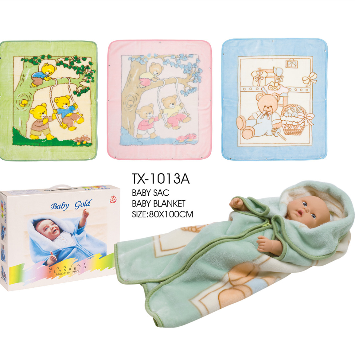 Factory Polyester baby blanket sac