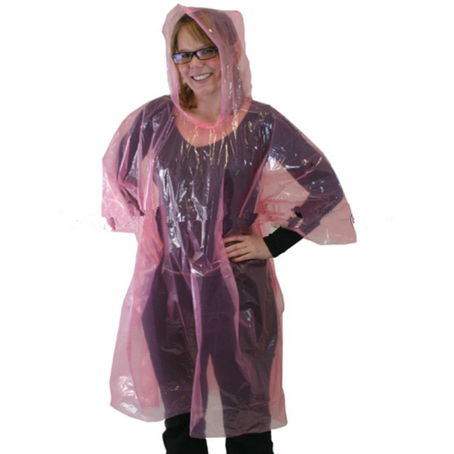 Transparent Colorful Disposable Adult Rain Ponchos