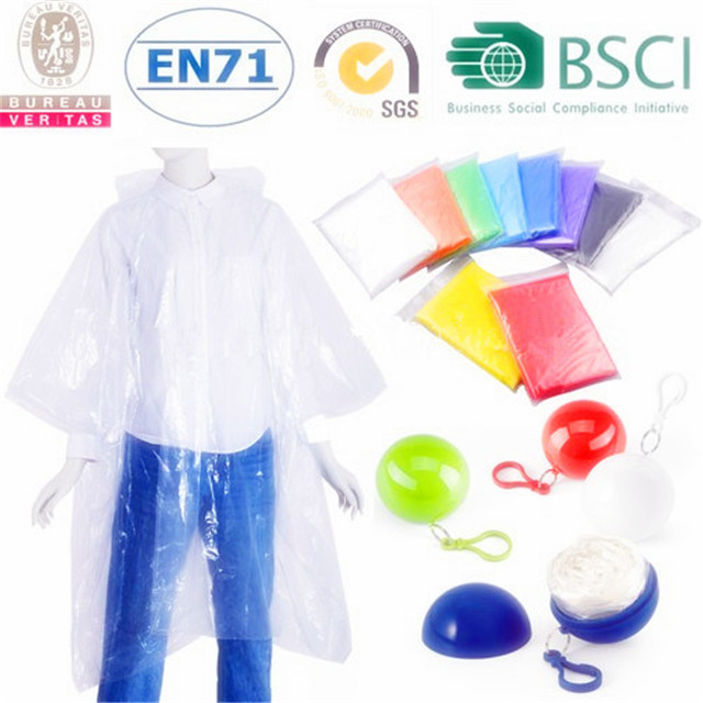 Disposable Adult Plain Color Rain Ponchos