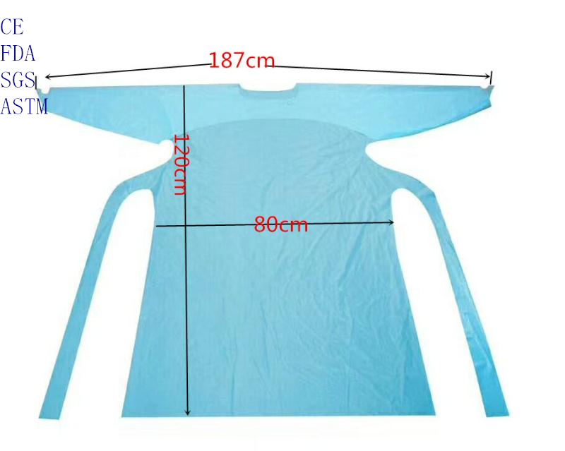 disposable isolation  gown with thumb holes
