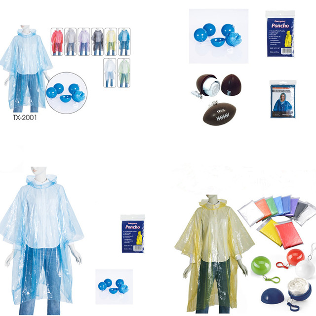 Clear disposable PE poncho