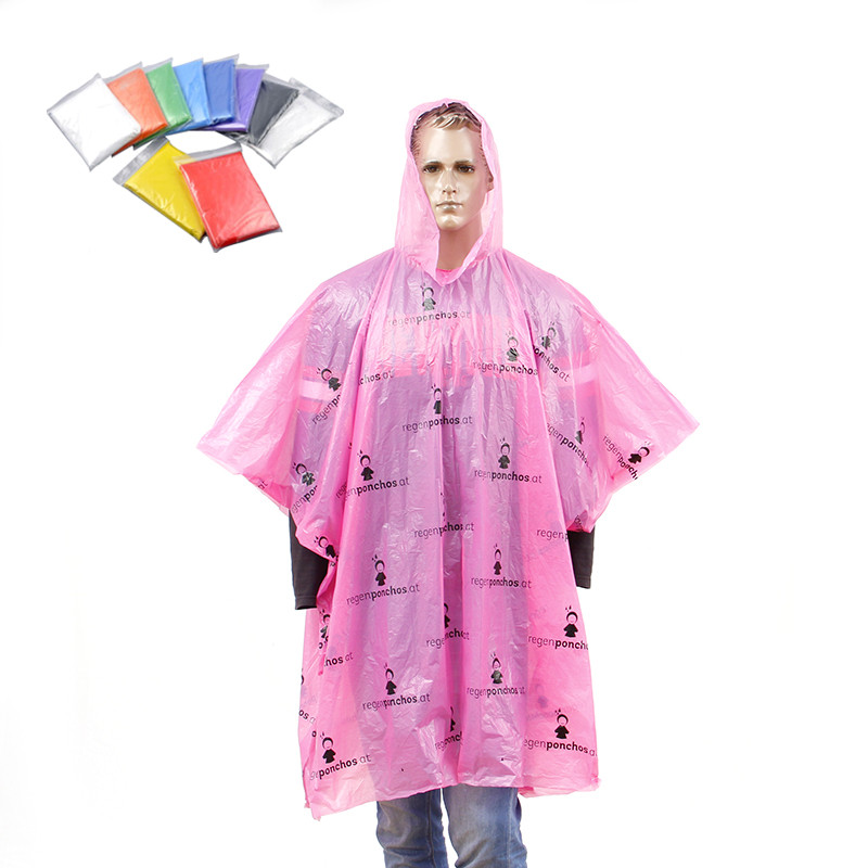 allover printed logo disposable plastic LDPE rain poncho
