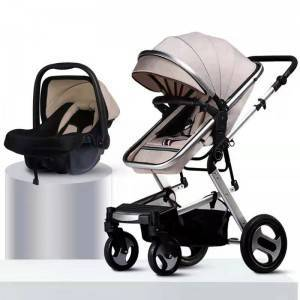 New design China factory super light one hand folding 3 in 1 baby carriage with car seat