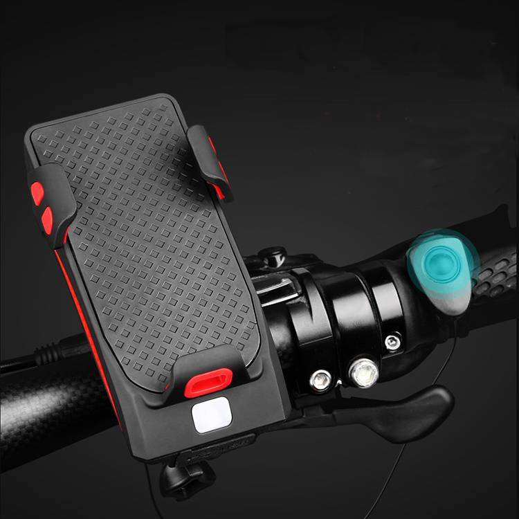 WEST BIKING 4 in1 400 Lumen T6 lamp Rechargeable Bicycle Headlight Electric Horn MTB Bicycle power bank phone holder Bell Light