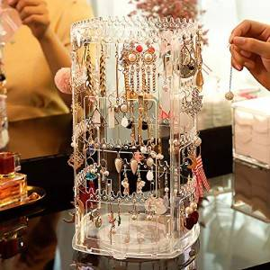 360 Rotating Earring Holder Stand Display 4 Tiers Jewelry Rack Display