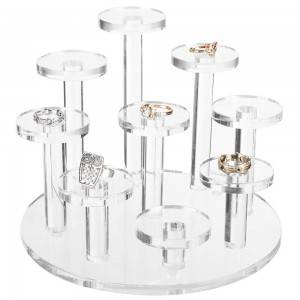 9 Tier Clear Acrylic Display Riser Ring & Retail Jewelry Stand