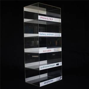 Acrylic cell phone accessory display 5 tiers car charger display stand