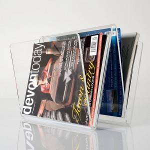 Clear W Shape Acrylic Magazine Holder A4 Magazines Brochure Display Stand