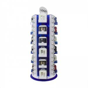 Exported Service Recyclable Rotatable Perspex Blue Mobile Phone Charger Display