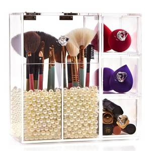 Luxury custom size clear plexiglass brush holder 5 drawer acrylic makeup organizer storage container