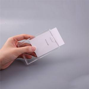 Transparent acrylic business id card holder block table retractable id card holder