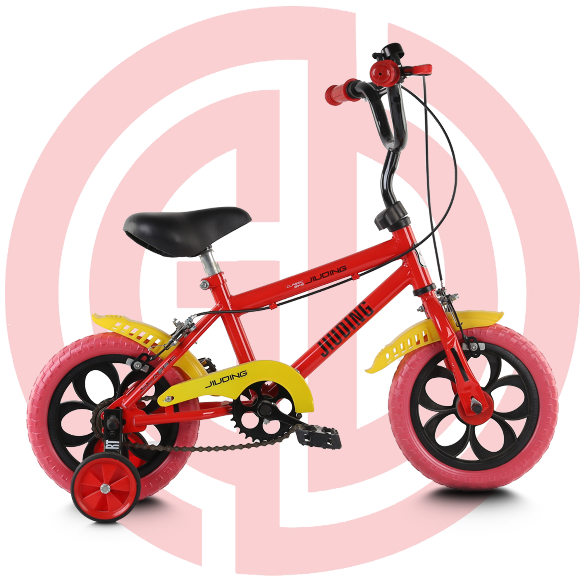 GD-KB-008:  Boy's bike with training wheels, cool kids' bike, fashionable children bike, red kids' bike