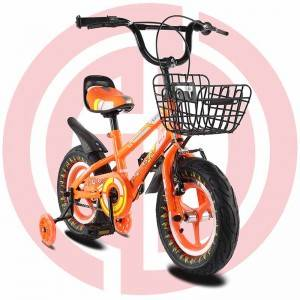 GD-KB-006: Children orange kids bicycle, cool kids bike, metal frame, training wheel