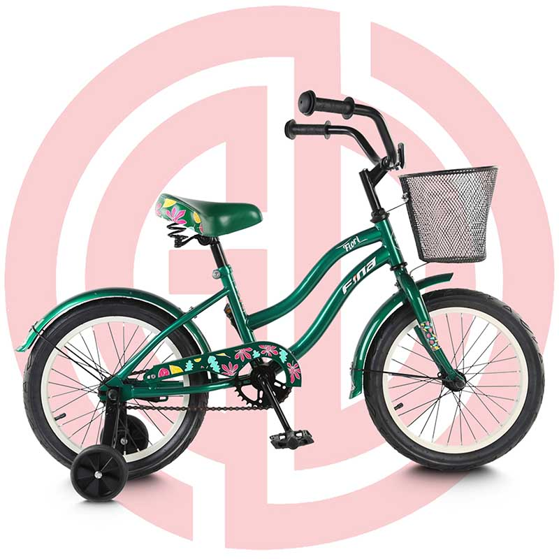 China wholesale Cheap Road Bike - GD-KB-007: Kid bike with training wheels and basket for perfect gift, green bike, kids bike – GUODA Featured Image