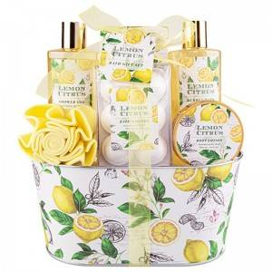 Low price for Hair Wax - Gift Bath & Shower Spa Basket Gift Set Lemon Scent Bath Set  – Haida