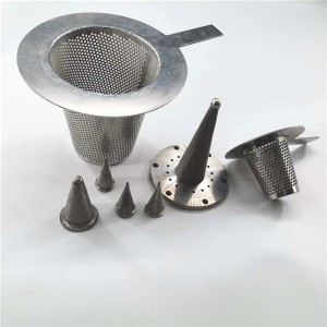 Cone filter temporary filter with sintered mesh,woven mesh or perforated mesh