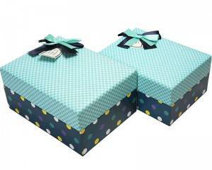 Luxury High End Handmade Hard Paper Gift Box Custom Square Box With Ribbon Bow Knot