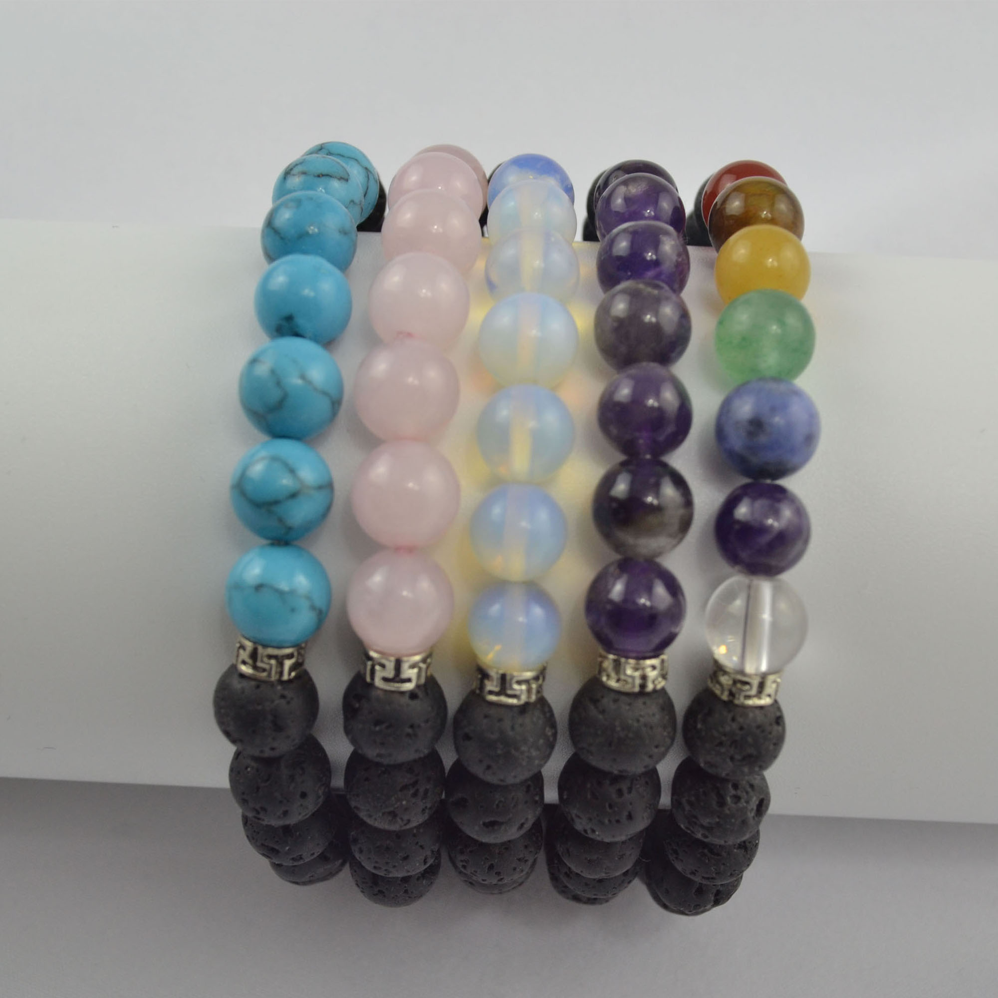 High Quality Semi- Gem Stone Beads - lava bead bracelet lava stone bracelet lava beads with semi-gem stone beads bracelet – Harmony