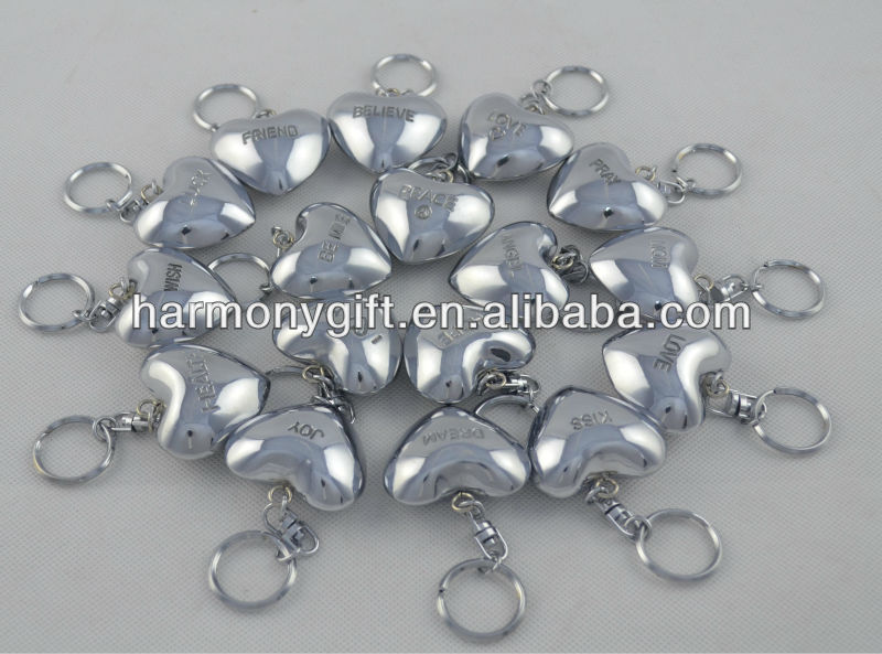 silver sound hearts with engraved words with keychain 4.5cm