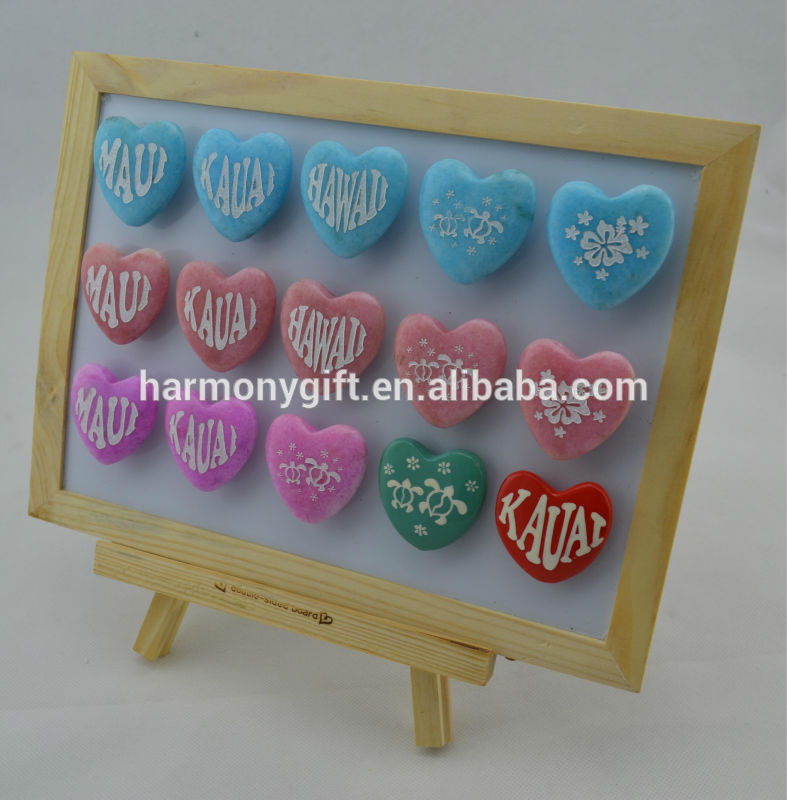 Bottom price Stone Beads - magnets with heart shape with engraving and handpainting – Harmony