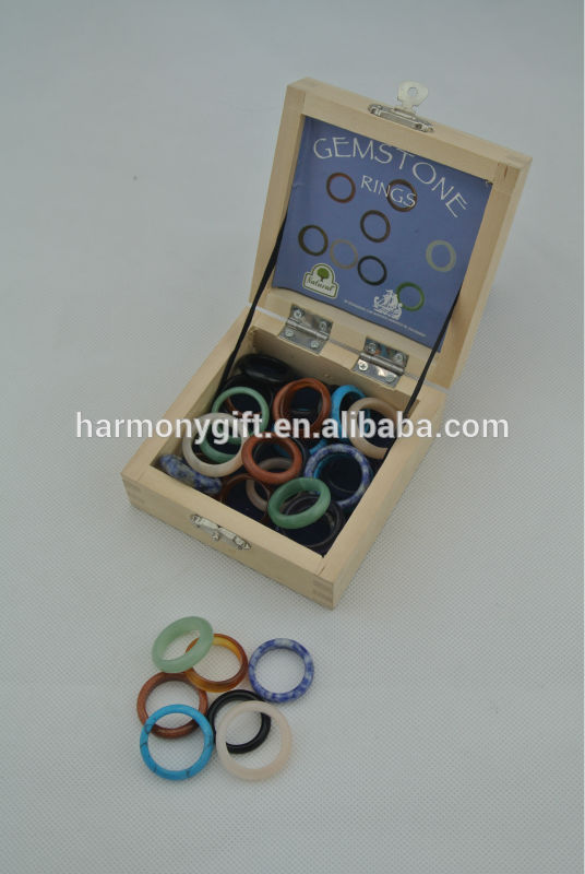 18 Years Factory Chakra Beads Bracelets - 32pcs semi-gem stone ring in a wooden box – Harmony