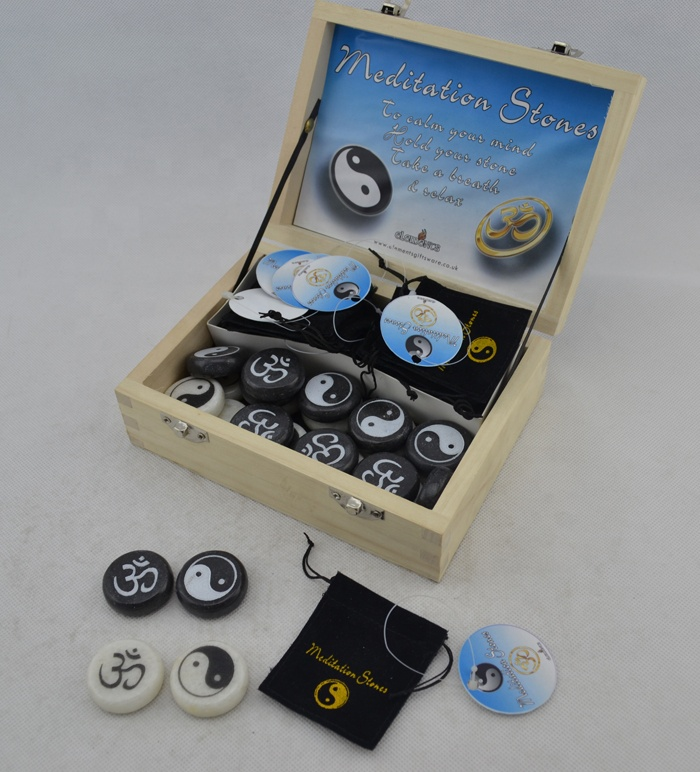 Stone pebble marble beads with engraving YinYang in a wood display box