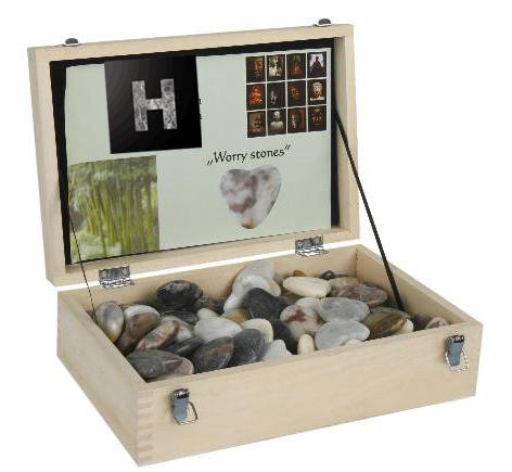 stone gifts natural marble heart shape love hearts in wooden display box
