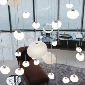 Hotel Lobby Project Pendant Lamp Bubble Glass Drop Lighting Creative LED Chandelier
