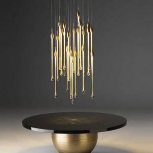 New Nordic Gold Wedding Decorative Luxury Water Drop Pendant Lighting Hotel Project Crystal Chandeliers