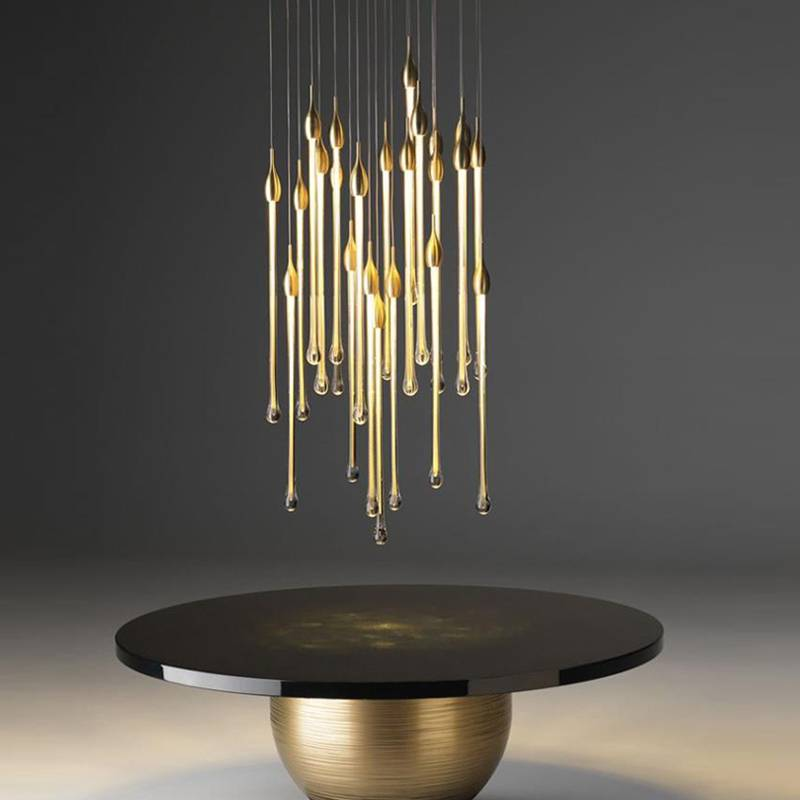 New Nordic Gold Wedding Decorative Luxury Water Drop Pendant Lighting Hotel Project Crystal Chandeliers Featured Image