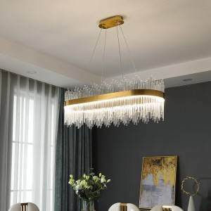 Rectangle Luxury Crystal Pendant Light HL61P02