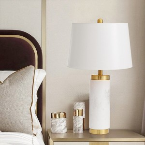 Marbleized Table Lamp in White Farbic Shade HL60T07