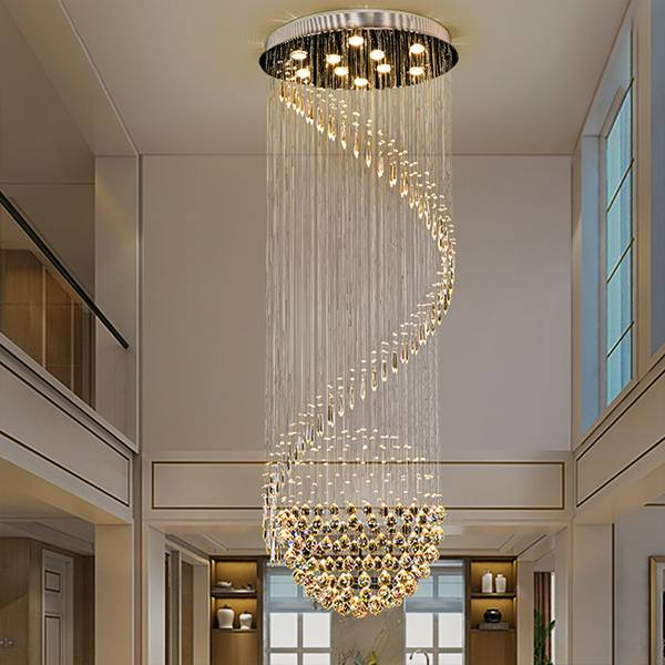 Modern Custom Crystal Bead Mesh Large Chandelier for Villa Hall Featured Image