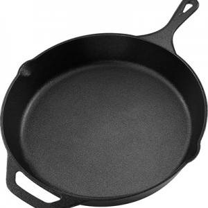 Pan Cast Iron Frying Skillet Kitchen Iron Cookware Non-Stick Cooking Frying Baking Pan with Handle for Stovetop Oven or Camp Cooking Pancakes Pizzas Quesadillas