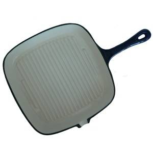 Cast Iron Skillet Square Frying Pan for Steak Meat Fish and Vegetables Grill Pan with Spout Cookware