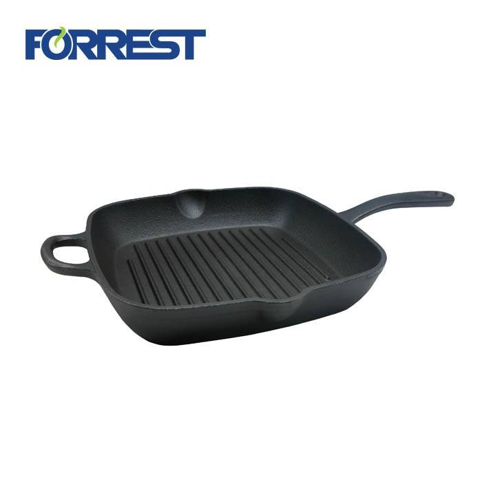 Square cast iron charcoal grill pan enamel coating with long handle