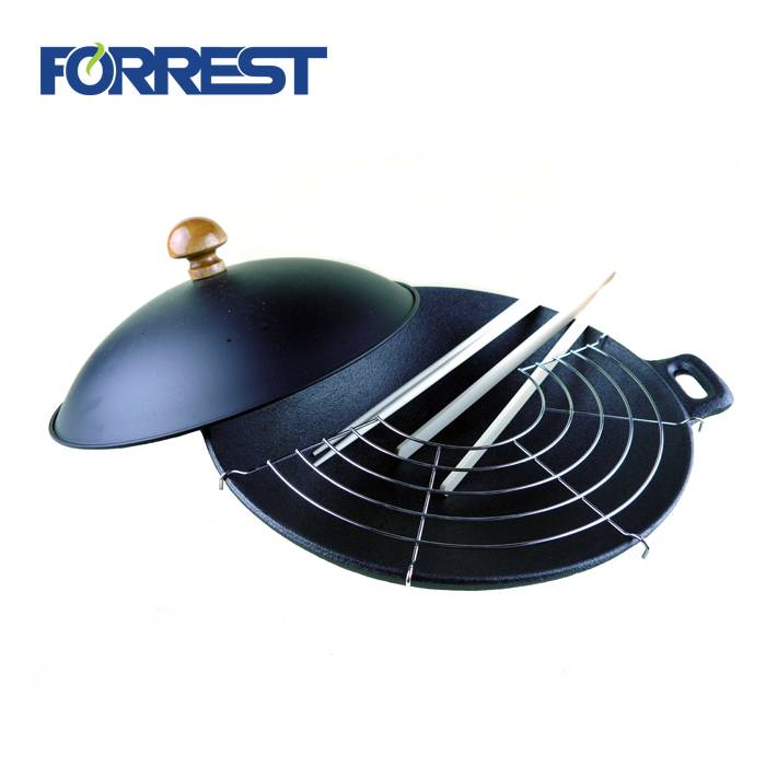 chinese cast iron wok with cover and chopsticks