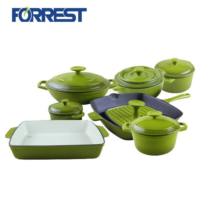 Discount Price Cast Iron Fry Pan With Handle - Cast iron enamel kitchenware sets – Forrest