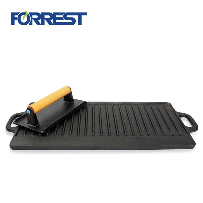 Original Factory Cast Iron Flat Top Grill - Vegetable oil cast iron grill press preseasoned cookware – Forrest