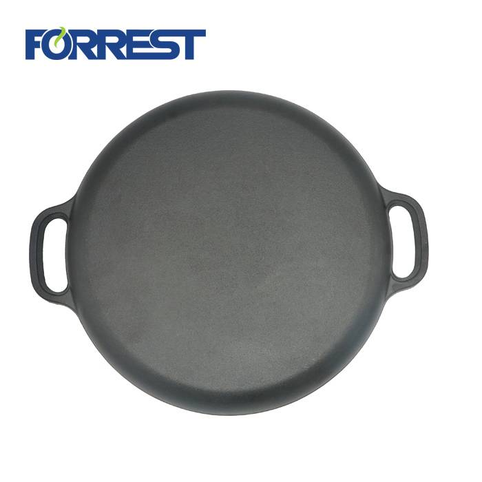Pre seasoned vegetable oil Dia 35cm Round frying pan cast iron pizza pan