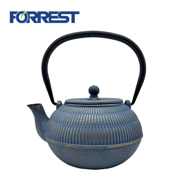0.7L 1.35kg best wholesale Eurofins  approved blue color enamel  tetsubin cast iron kettle  teapot antiqu style with S/S Infuser