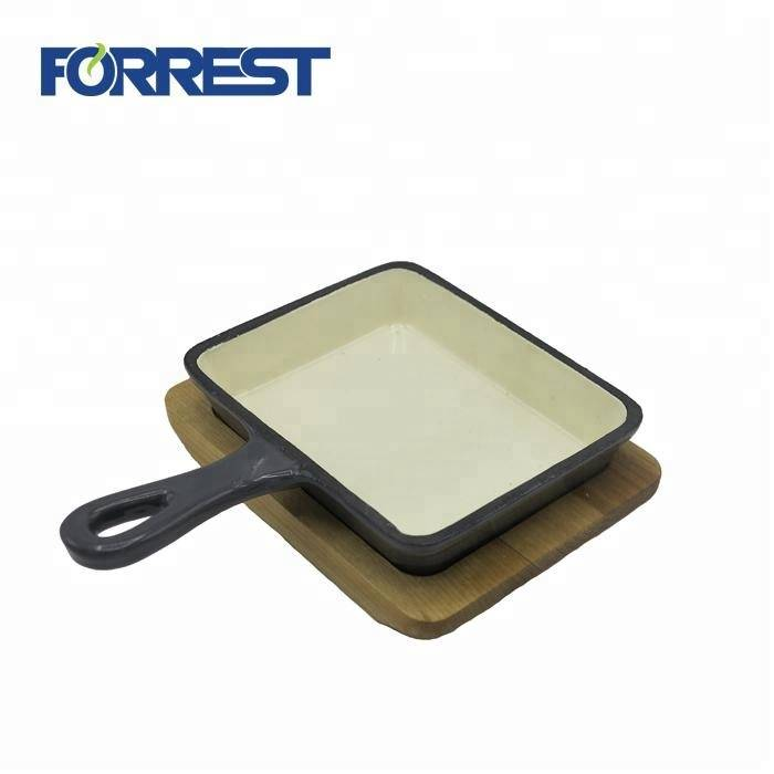 Hot Selling for Square Hollow Handles Iron Cast Skillet 10 Inch - Preseasoned or color enamel coating cast iron cookware square frying pan with wooden base 10.6 & 14cm non stick for kitchen us...