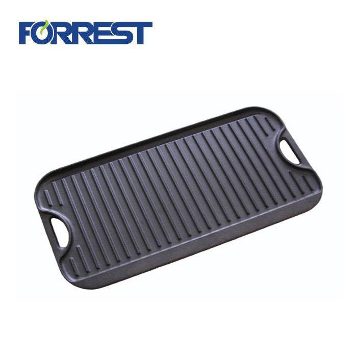 OEM/ODM Supplier Enamel Coated Cast Iron Cookware - Rectangular Cast Iron Cookware Griddle Pan BBQ Reversible Grill Pan Plate – Forrest