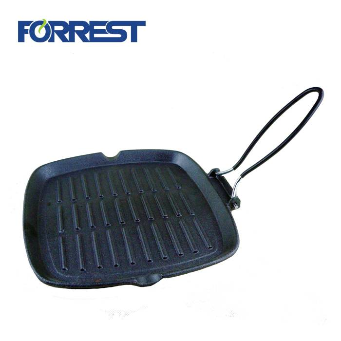 High Quality Cast Iron Grill Pan Griddle Plate With Removable Handle FDA,Eurofins,LFGB approved