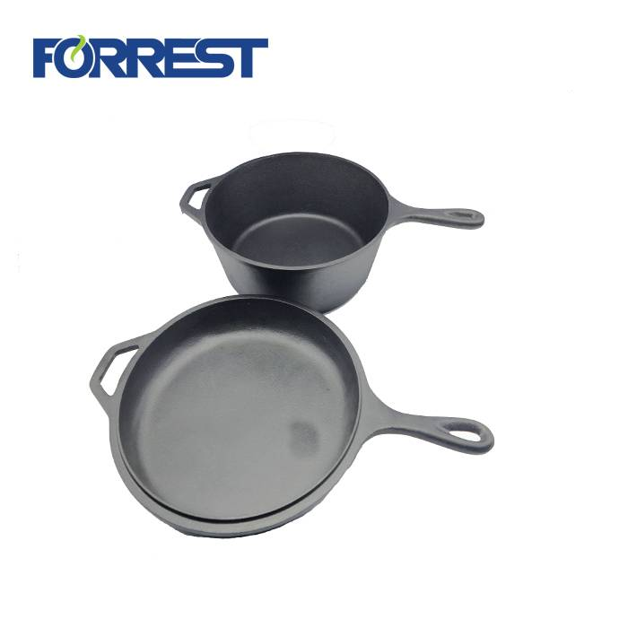 Factory selling Steel Cast Iron Grill Pan - Dia 27cm Preseasoned cast iron skillet cookware  Double sides use pot lid as frypan skillet Combo Cooker Camping two sides use – Forrest