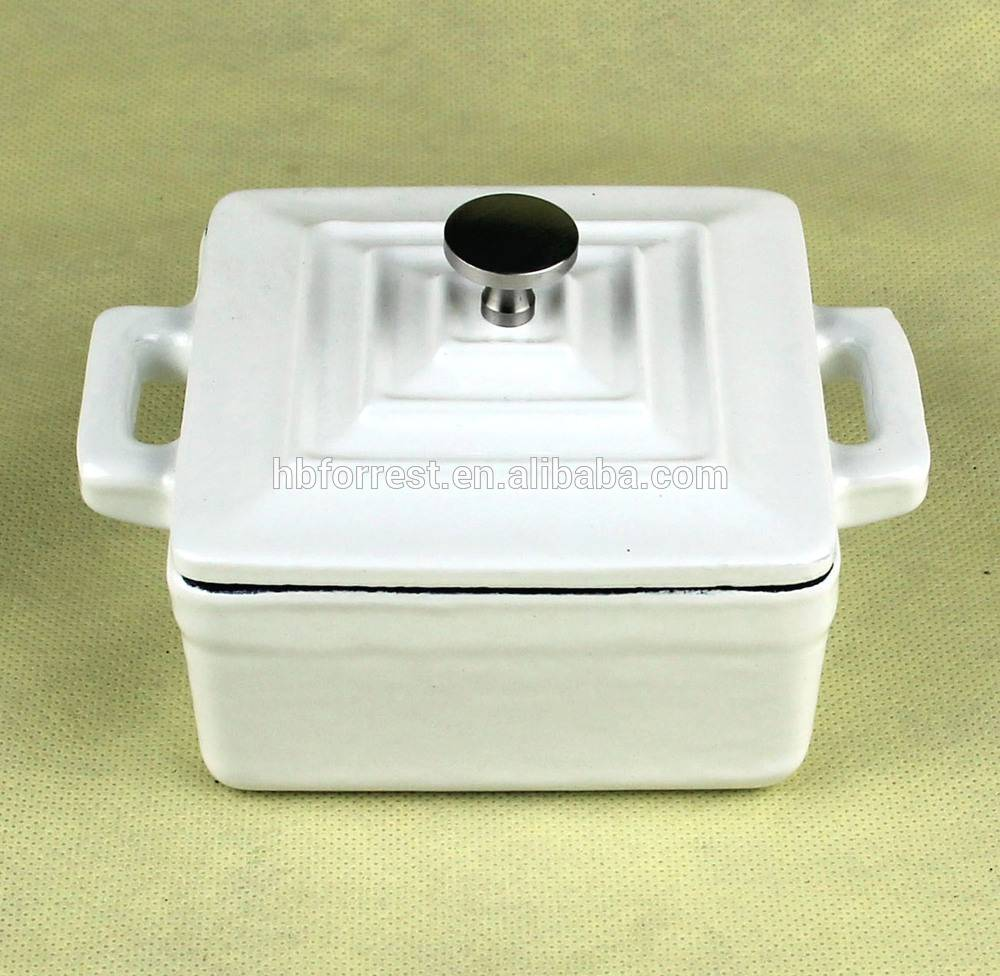 white enamel cast iron cookware