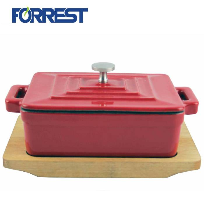 OEM/ODM Factory Flat Cast Iron Skillet - Best Price Porcelain Enameled Cast Ion Square Casserole Wooden BaseTary Cast Iron For Cookware – Forrest