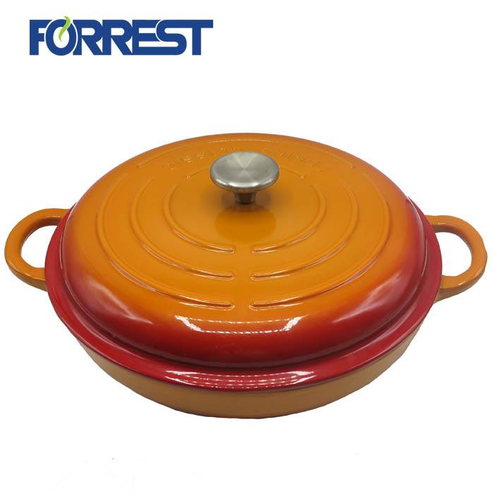 100% Original White Enamel Cast Iron Cookware - 31cm Hot Sale Enameled Cast Iron Shallow Casserole Braiser Pan with Cover – Forrest