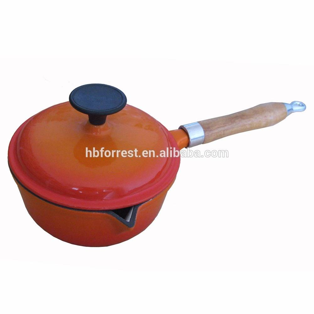Orange Enamel Cast Iron Sauce Pan
